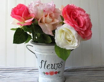 Hand painted fleur flower bucket metal vase urn French Farmhouse handpainted fleurs floral shabby white