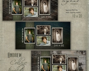 """10 x 20 Senior COLLAGE TEMPLATE - """"Andrew"""" - 10x20 photo collage storyboard template for High School Senior"""