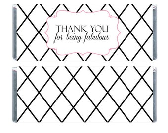 Thank You For Being Fabulous Candy Bar Wrapper, Chocolate Bar Wrappers, Plaid Candy Wrappers, Bridal Shower Candy Wrappers, Candy Wrapper
