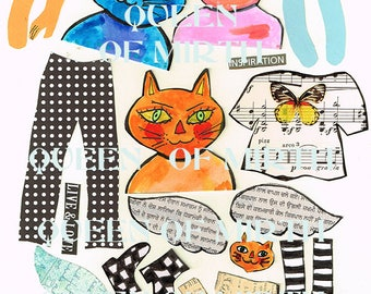 QUEEN OF MIRTH art cats paper dolls instant download mixed media collage sheet art journal scrapbooking journalling zetti original