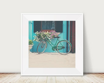 Venice photograph green bicycle photograph Burano photograph green bicycle print Venice print travel photography Venice art