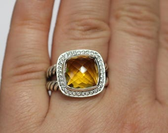 DAVID YURMAN Albion WITH 11 mm Citrine and Pave Diamonds Ring Size 6 Old Version