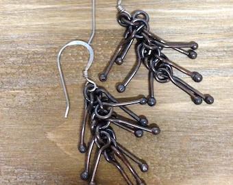 Copper Tassel Earrings, Copper Dangle Earrings, Solid Copper, Wire Earrings