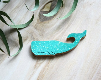 Turquoise whale brooch pin/ Hipster pin / Turquoise cachalot pin / Animal brooch