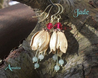 Flower earrings, tulip earrings, real Jade gemstone beads, gift for women, Easter earrings, spring earrings, extravagant jewelry