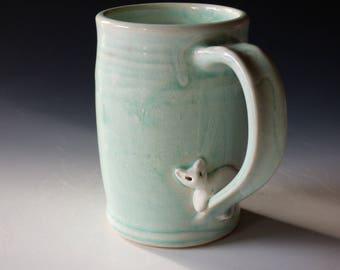 aqua cat mug