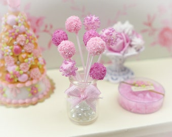 MTO -Pink Cake Pops - Handmade Miniature Food in 12th Scale
