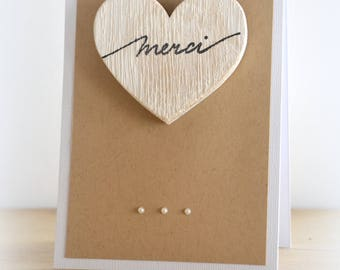 Thank you thank you card kraft heart wood