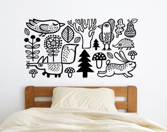 Woodland wall decal / Nursery wall decal / Forest animals / Kids room decor / Fox wall sticker / Forest wall sticker