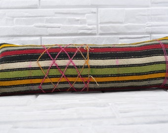 "12""x36"" striped kilim pillow decorative kilim pillow lumbar pillow turkish kilim pillow king size pillow cover anatolian kilim pillow No 121"