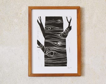 tree · original linocut · Limited Edition · DIN A5
