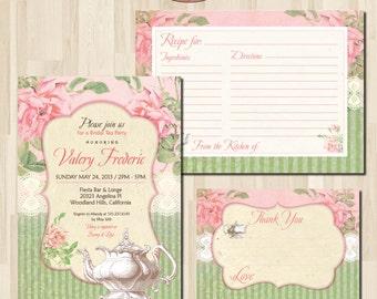 Shabby Chic Bridal Tea Party Mint Green Invitation. DIY card. Pink Roses