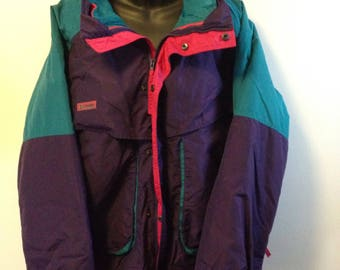 Vintage 90s Columbia Powder Keg convertible two in one ski jacket teal purple hot pink mens XL