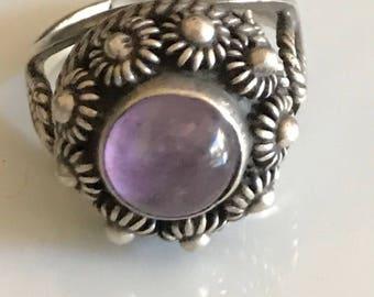 Vintage Sterling Amethyst Poison Ring