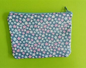 zip pouch, zippered pouch, pouch bag, cosmetic purse, makeup bag storage, makeup organizer, school pencil case, cosmetic bag, floral, flower