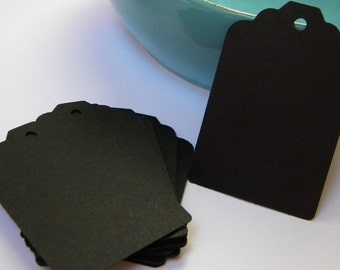 100 black tags - black paper tags - gift tags - wedding favor tags - merchandise tags - jar tags - hang tags - craft supplies