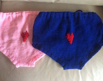 Blue and pink hand knitted underwear, high waisted bikini, knitted panties, knit bottoms