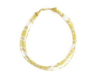 multistrand necklace, yellow necklace, statement necklace, seed bead necklace, mellow yellow, bohemian jewelry, gift ideas