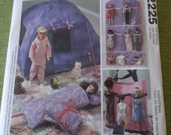McCalls 2225 Fashion Doll Barbie Organizer and Accessories Pattern UNCUT