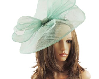 Commodore Mint Fascinator Hat for Weddings, Races, and Special Events With Headband