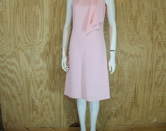 Vintage 1960's Pink Ribbed Bengaline Scarf Sash Sleeveless Sheath Dress Small Medium S / M