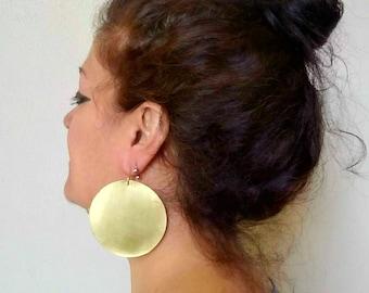 Big African earrings, large hoop earrings, disk earrings, ethnic earrings, dangle hook brass earrings, bohemian brass round earrings
