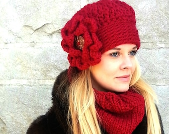Chunky Hat, Red Chunky Hat, Chunky Hat with Flower, Cranberry Hat, Big Flower Hat, Statement Hat, Fashion Hat, Winter Hat, Warm Hat Flower