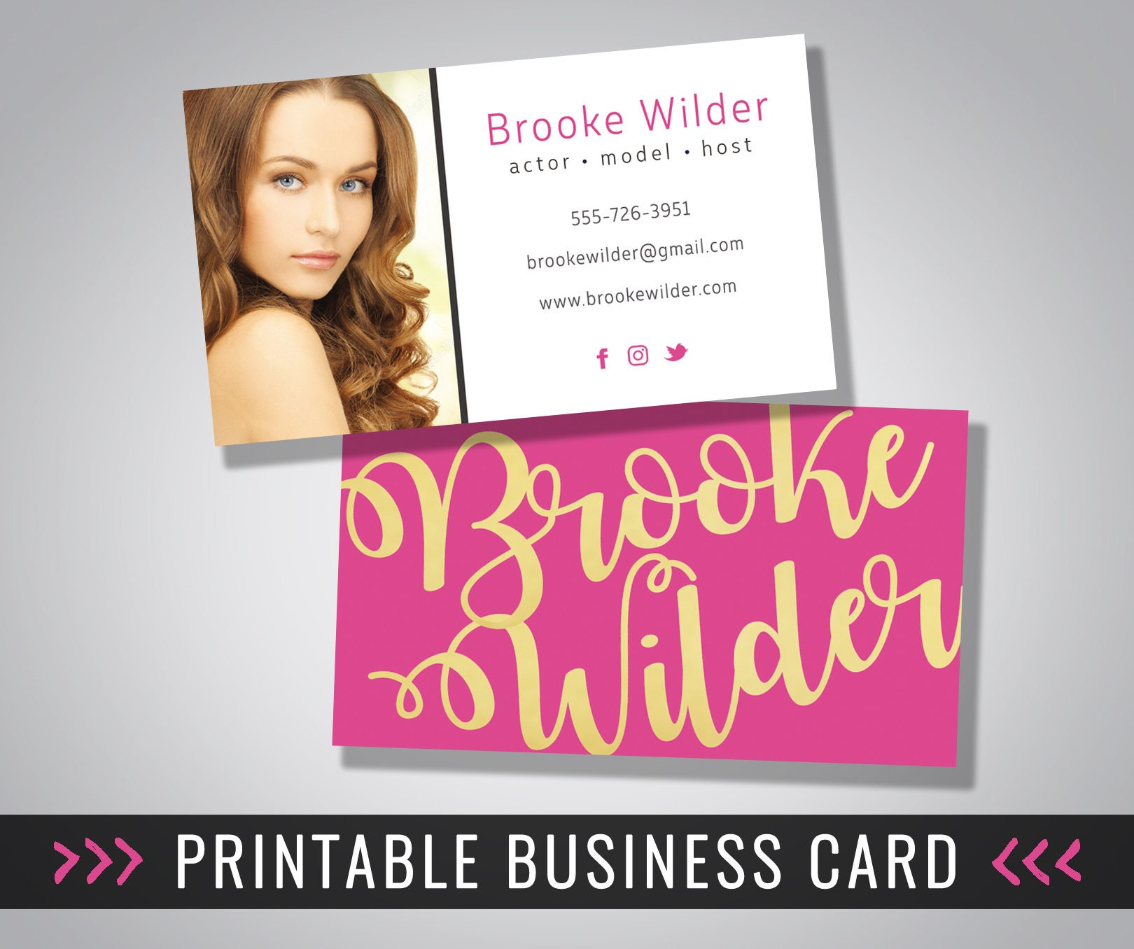 Business Card Design / Photo Business Card / Printable / 3.5 x