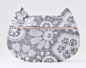 Floral Makeup Bag, Cat Cosmetic Bag, Bridal Gift, Cat Purse, Pills Case, Pencil Case, Cat Lover Gift, Zipper Bag, Toiletries Bag, Cat Bag