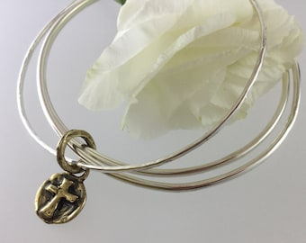 Sterling silver bangles/Artisan/hammered bangle/Sterling/silver/cross/brass/charm/rustic/