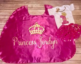 Princess Birthday Cape & Onesie Set. 1st Birthday Outfit. Birthday Princess Outfit. Personalized Birthday Outfit. Girls 1st Birthday Outfit.