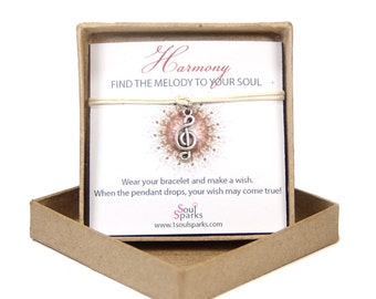 Harmony: Find the Melody to your Soul-Musical G-Clef Wish Bracelet- Gift for Musician, Gift for Music Lovers, Gift for Best Friend, BFF gift