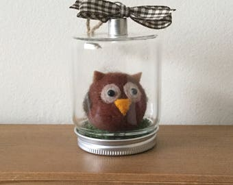 Hand felted owl decoration.