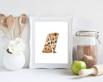 Cookies No.2, Cookies Print, Cookie Print, Cookie Art, Watercolor Food, Watercolor Art, Food Watercolor, Sweets, Chocolate Chip, Wall Art,
