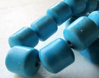 Turquoise Beads 10 x 9mm Aqua Blue Shiny Smooth Short Tubes -  10 Pieces