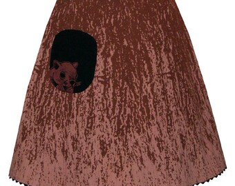 knothole skirt - chestnut brown - tree bark print with cute lil squirrel pocket