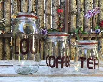 Flour Coffee Tea glass canisters/ typography glass jars/ glass canister set with locking metal bail lids/ set of 3 dry food storage jars