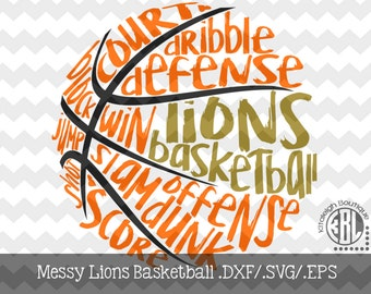 Messy Lions basketball design INSTANT DOWNLOAD in dxf/svg/eps for use with programs such as Silhouette Studio and Cricut Design Space