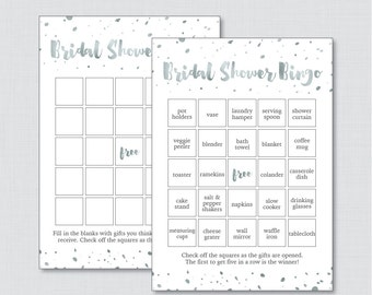 Silver Gray Bridal Shower Bingo Printable - 60 Unique Pre-filled Bingo Cards AND Blank Cards - White and Faux Silver Foil Bingo 0010-K