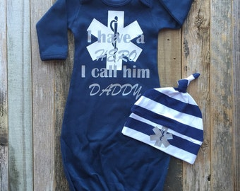 Reserved-- paramedic hero gown set and matching blanket --RUSH--
