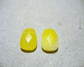 Jade Trapezoid Beads Gemstone Yellow Faceted Flat 14x10MM