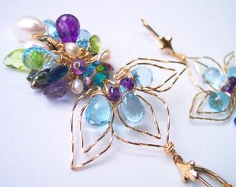 Sky Blue Topaz Flower Earrings in Gold, Gift for Her, Ultraviolet Amethyst, Pearl & Peridot, Fleur-de-Lis Chandelier Earrings