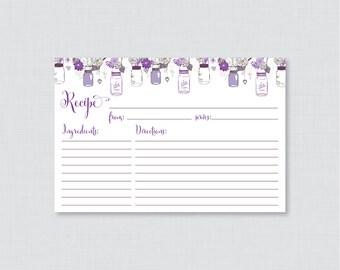 Mason Jar Bridal Shower Recipe Cards - Printable Rustic Bridal Shower Recipe Card & Invitation Insert - Purple Mason Jar Recipe Card 0015-R