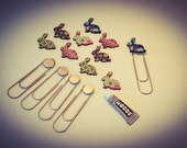 Bookmark Kit Giant / Large Paper Clip Themed Rabbit (Makes 5) Craft Glue Free Shipping