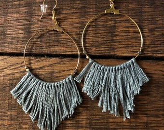 Boho Pointed Fringe Hoop Earrings