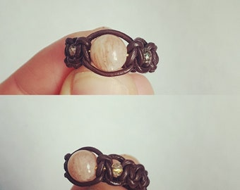 Leather and Natural Moonstone ring