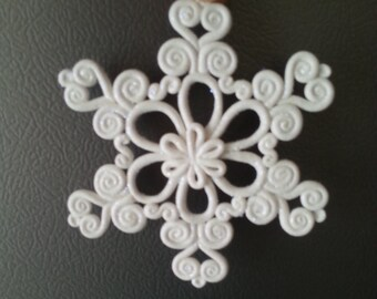 Handcrafted Polymer Clay Sparkly Snowflake Christmas Ornament - Glitter Snowflake Gift -