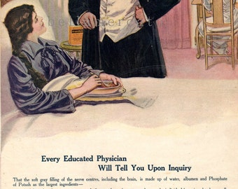 1900's Grape Nuts Advertisement Original Cereal Ad Physician Making a House Call