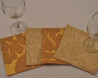 Gold Silk Large Coasters Upcycled Fabrics Reversible Square