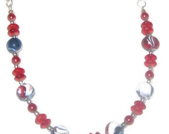 Handmade Beaded Necklace-Red, White and Blue